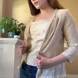 Vintage embroidered cardigan with lace and beading